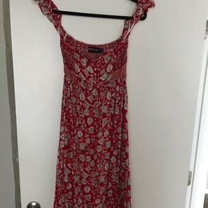 LF Off The Shoulder floral red maxi dress